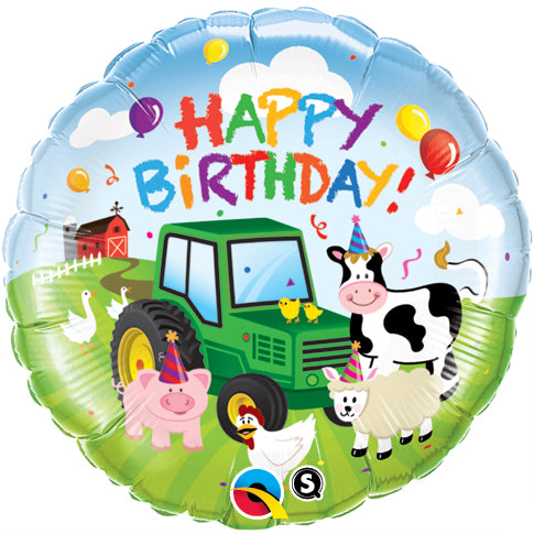 Happy Birthday Farm Folienballon 45cm ungefüllt