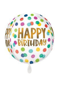 Happy Birthday Dots Orbz 40cm ungefüllt