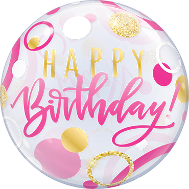 Birthday Pink & Gold Dots Bubble Ballon