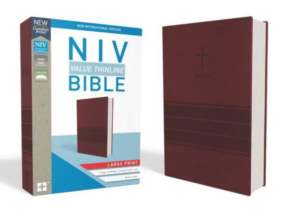 NIV Thinline Bible Large Print, Burgundy