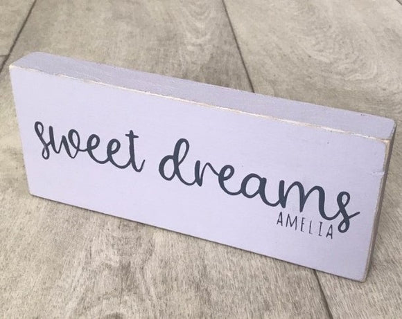Sweet Dreams | Personalised Handmade Wooden Sign