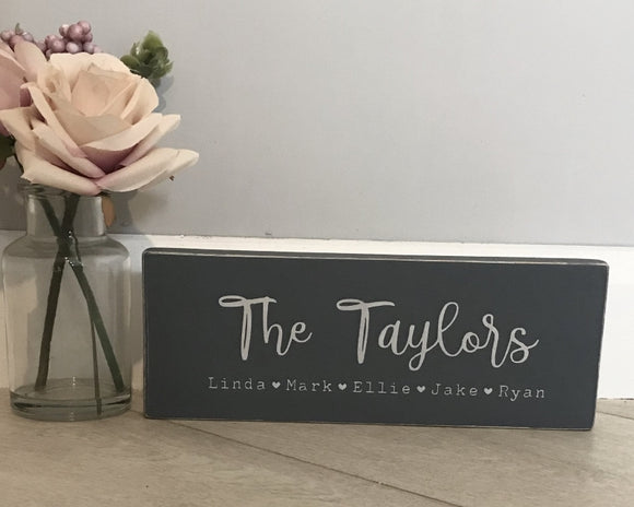 Family Names | Personalised Handmade Wood Sign