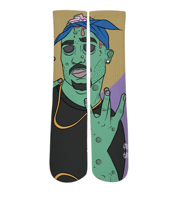 Elite printed socks-2pac zombie design