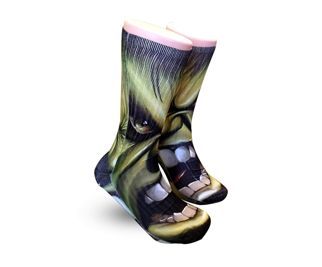Incredible Hulk Socks -Custom Elite Crew socks - DopeSoxOfficial