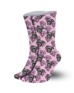 Pink diamond pattern Pet socks-printed crew socks