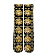 Load image into Gallery viewer, Versace gold Medusa pattern printed graphic socks - DopeSoxOfficial