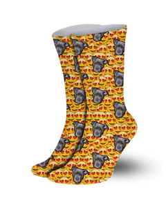 Yellow emoji pattern Pet socks-printed crew socks