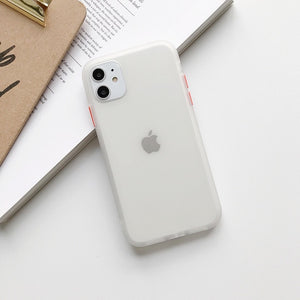 Funda móvil transparente color mate Simple para iPhone 11 Pro Max XR XS Max 6S 8 7 Plus