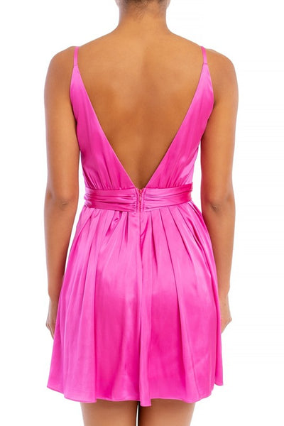 Satin Mini Dress with Twist Waist