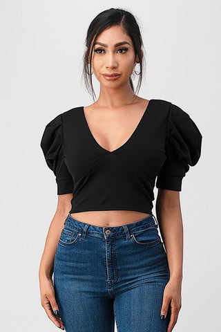 Puffed sleeve crop top