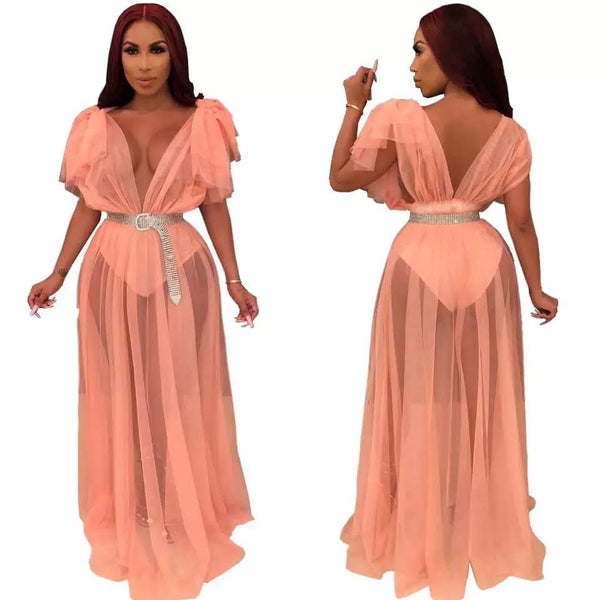 Floor Length Sheer Mesh Cover Up Dress