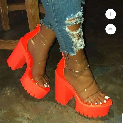 Solid Chunky Heel Sandals