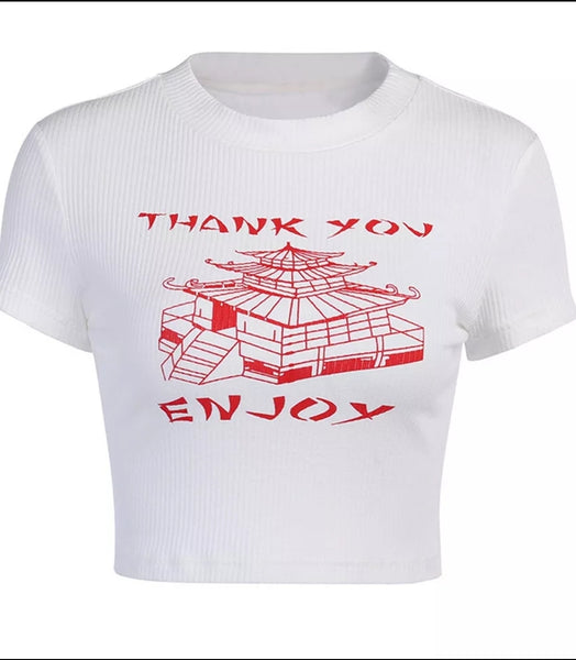 Thank You Enjoy Crop Top