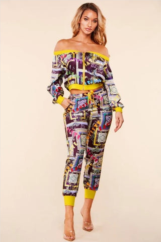 Multicolor Crop top 2 piece set
