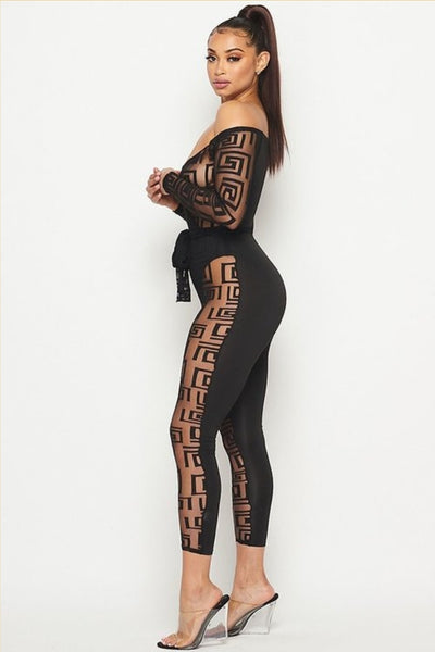 Black mesh jumpsuit with abstract print