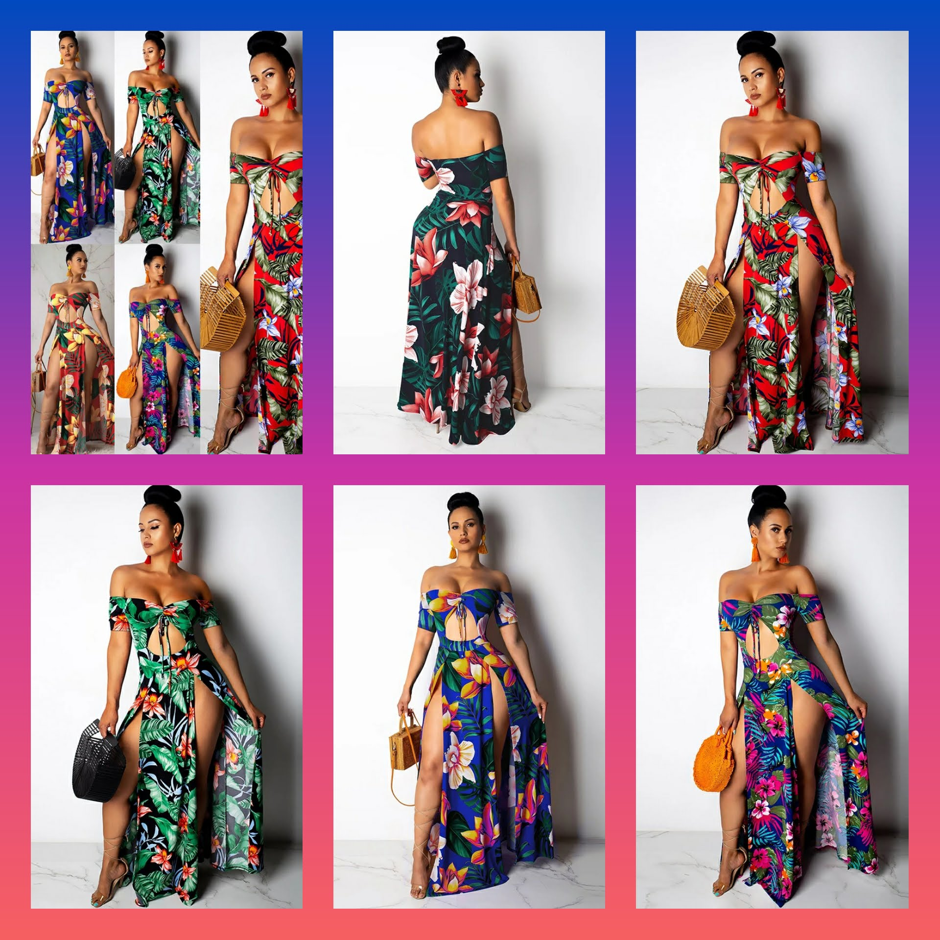 Double Split Maxi Dress with Midriff Cutout