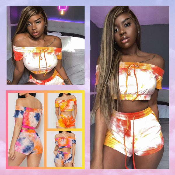 Tie-Dye 2 Piece Set with Crop Top