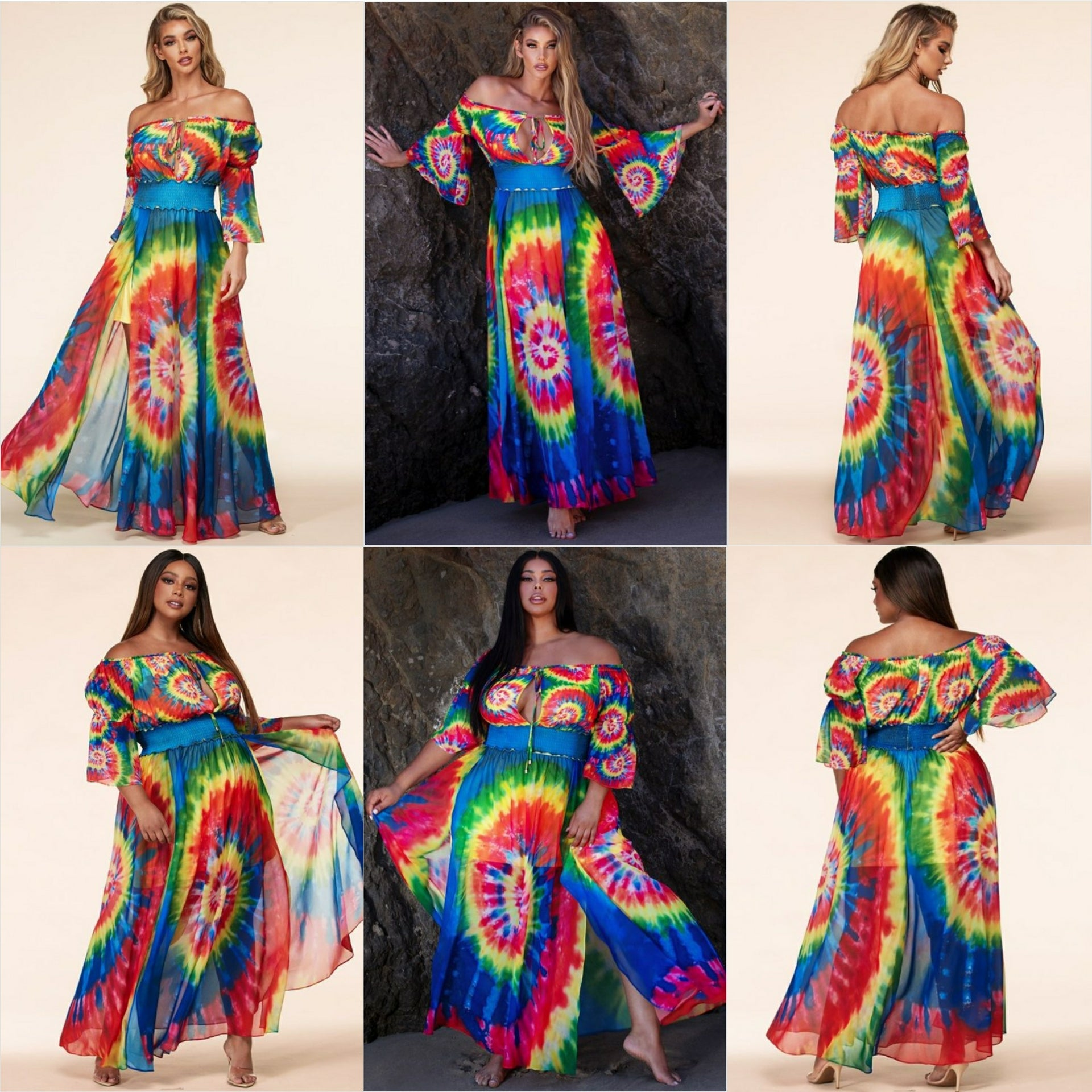 Color burst tie-dye chiffon maxi dress