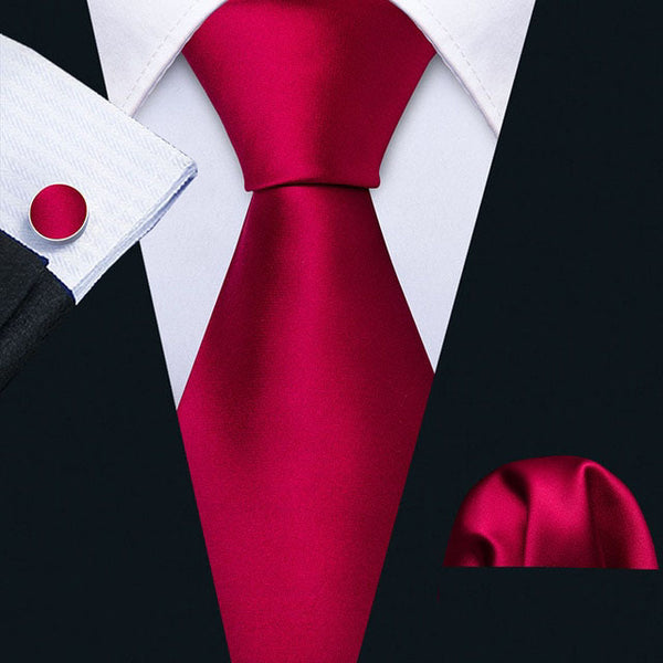 Raspberry Red Silk Necktie Set