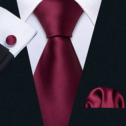 Velvet Red Silk Necktie Set