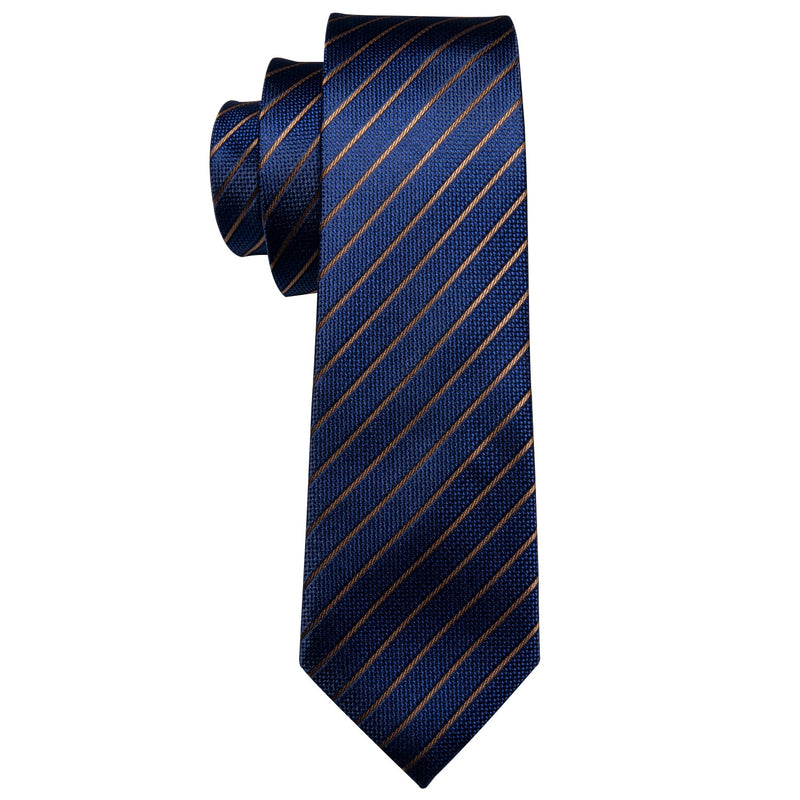Copy of Blue Silk Necktie With Golden Stripes