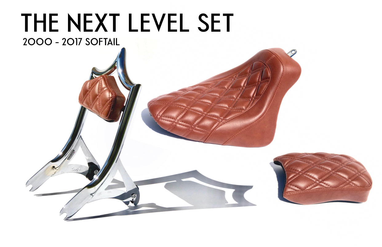 THE NEXT LEVEL SET (SOFTAIL) EL REY BACKREST and SOLO / PASSENGER PILLION SEAT