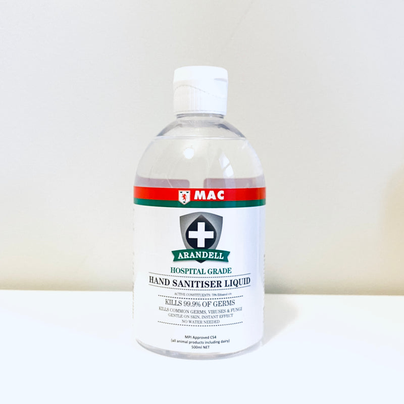 MPI approved C54. Hospital Grade. Mac Arandell Hand Sanitiser Liquid – 500ml