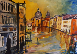 Original Watercolour Painting of Venice, Italy, by Irish Artist Cathal O'Briain. Free P&P with Padded Protection within Ireland.  Comes professionally framed in a new, neutral coloured frame to most styles or settings.