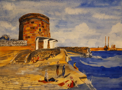 Original Watercolour Painting of Martello Tower, Dublin, Ireland, by Irish Artist Cathal O'Briain. Free P&P with Padded Protection within Ireland.  Comes professionally framed in a new, neutral coloured frame to most styles or settings.