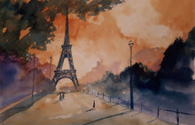 Load image into Gallery viewer, Watercolour Painting of the Eiffel Tower, Paris, France, by Irish Artist Cathal O'Briain. Free P&P with Padded Protection within Ireland.  Comes professionally framed in a new, neutral coloured frame to most styles or settings.