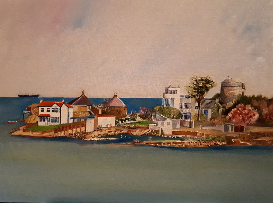 Original Oil Painting of Sandycove, Dublin, by Cathal O'Briain. New high quality neutral coloured frame with glass protection to suit most any room.