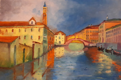 Original Oil on Canvas Painting of Venice, Italy, by Irish Artist Cathal O'Briain. Free P&P with Padded Protection within Ireland.  Comes professionally framed in a new, neutral coloured frame to most styles or settings.