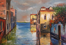 Load image into Gallery viewer, Original Oil on Canvas Painting of Venice, Italy, by Irish Artist Cathal O'Briain. Free P&P with Padded Protection within Ireland.  Comes professionally framed in a new, neutral coloured frame to most styles or settings.