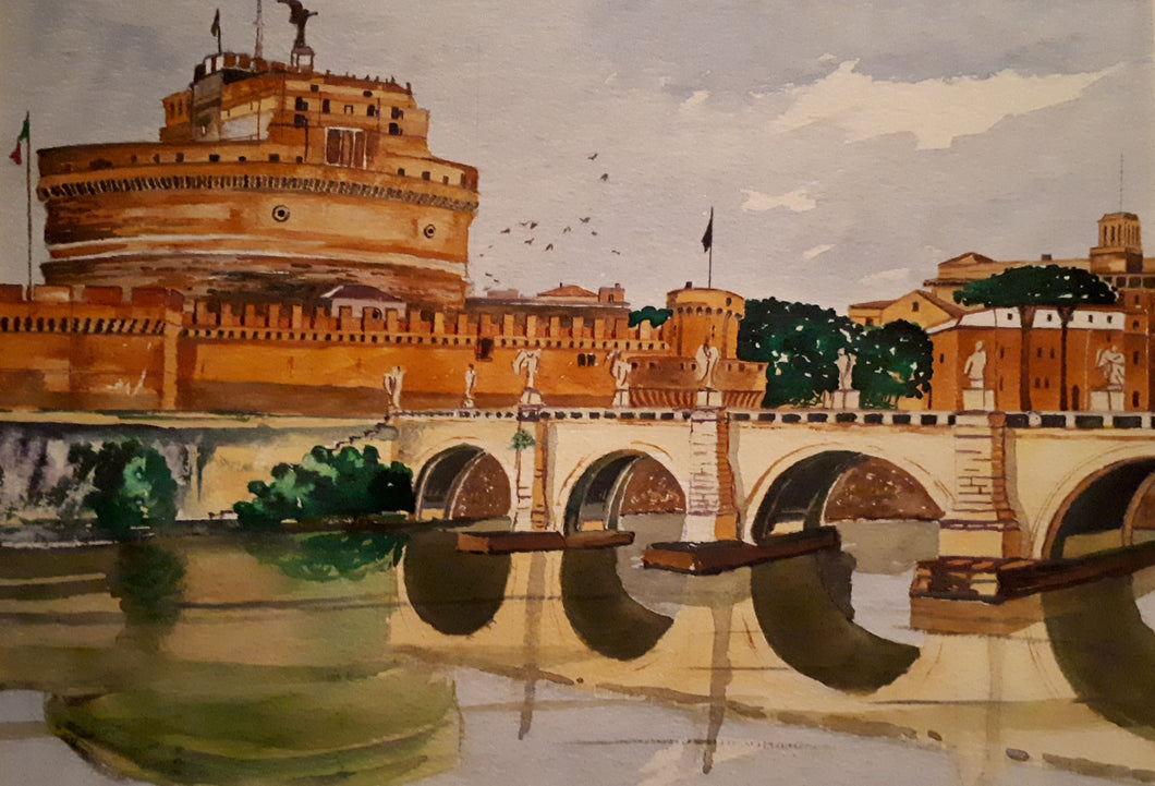 Original Watercolour Painting of Ponte Sant'Angelo, Rome, Italy, by Irish Artist Cathal O'Briain. Free P&P with Padded Protection within Ireland.