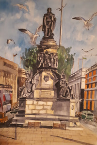 Original Watercolour Painting of O'Connell Street, Dublin, by Irish Artist Cathal O'Briain. Free P&P with Padded Protection within Ireland.