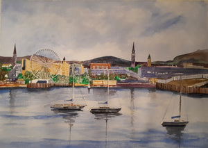 Original Watercolour Painting of Dun Laoghaire, Dublin, Ireland, by Irish Artist Cathal O'Briain. Free P&P with Padded Protection within Ireland.