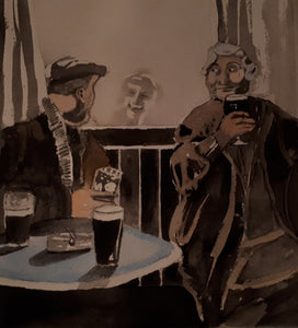 Original Watercolour Irish Pub Scene/Setting, by Irish Artist Cathal O'Briain.