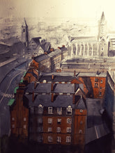 Load image into Gallery viewer, Original Watercolour Painting of the view from St. Patrick's Cathredral, Dublin, by Irish Artist Cathal O'Briain. Free P&P with Padded Protection within Ireland.