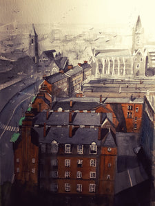 Original Watercolour Painting of the view from St. Patrick's Cathredral, Dublin, by Irish Artist Cathal O'Briain. Free P&P with Padded Protection within Ireland.