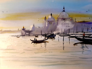 Watercolour Painting of Venice, Italy, by Irish Artist Cathal O'Briain. Free P&P with Padded Protection within Ireland.