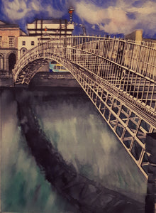 Original Watercolour Painting of Ha'penny Bridge, Dublin, Ireland, by Irish Artist Cathal O'Briain. Free P&P with Padded Protection within Ireland.