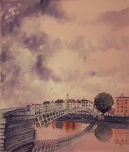 Load image into Gallery viewer, Original Watercolour Painting of Ha'penny Bridge, Dublin, Ireland, by Irish Artist Cathal O'Briain. Free P&P with Padded Protection within Ireland.