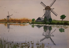 Load image into Gallery viewer, Original Watercolour Painting of Windmills in Kinderdijk, Netherlands, by Irish Artist Cathal O'Briain. Free P&P with Padded Protection within Ireland.