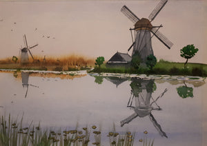 Original Watercolour Painting of Windmills in Kinderdijk, Netherlands, by Irish Artist Cathal O'Briain. Free P&P with Padded Protection within Ireland.