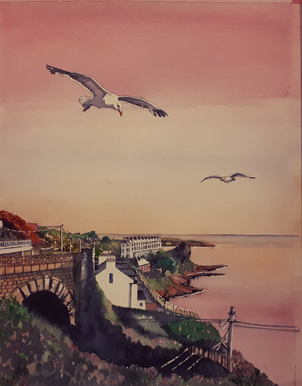 Original Watercolour Painting of Sorrento Terrace, Dalkey, Dublin, Ireland, by Irish Artist Cathal O'Briain. Free P&P with Padded Protection within Ireland.