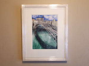 A3 Framed Fine Art Print of Original Watercolour Painting of Ha'penny Bridge, Dublin, Ireland, by Irish Artist Cathal O'Briain.
