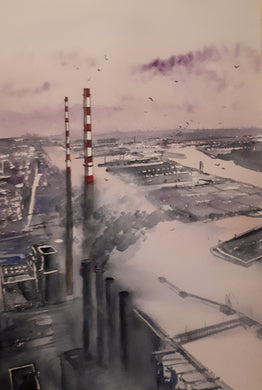 Original Watercolour Painting of the 'Poolbeg Stacks', Dublin, Ireland, by Irish Artist Cathal O'Briain.