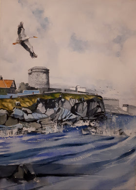 Original Watercolour Painting of Martello Tower, Sandycove, Dublin, by Irish Artist Cathal O'Briain.