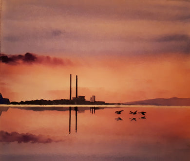 Original Watercolour Painting of the 'Poolbeg Stacks', and Sandymount, Dublin, Ireland, by Irish Artist Cathal O'Briain.