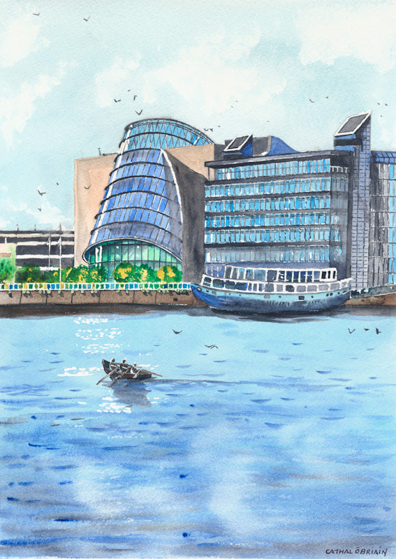 Original Watercolour Painting of The Convention Centre, Dublin, by Irish Artist Cathal O'Briain. Free P&P with Padded Protection within Ireland.